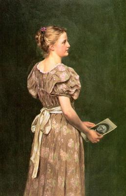 Джон Джордж Браун. Девушка с портретом Вашингтона