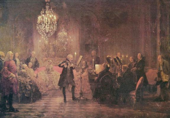 Adolf Friedrich Erdmann von Menzel. Concert of Frederick the Great in Sanssouci