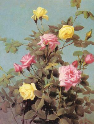 Джордж Кокран Ламбдин. Желтые и розовые розы