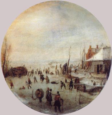 Хендрик Аверкамп. Зимний пейзаж с фигуристами