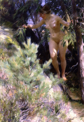 Anders Zorn. Nude under a fir