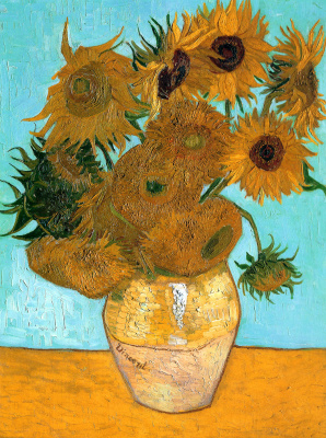 Twelve sunflowers in a vase