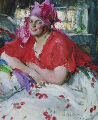 Abram Arkhipov. A young woman in a red jacket