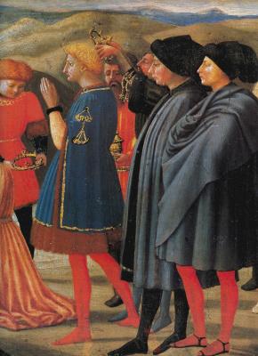 Tommaso Masaccio. Adoration of the Magi. Detail of predella Pisa polyptych
