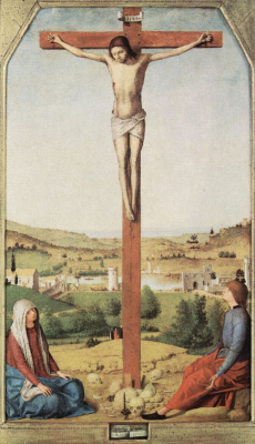 Antonello da Messina. The crucifixion with the virgin and St John