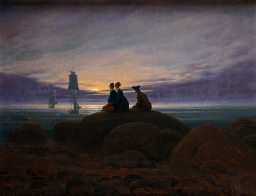 Caspar David Friedrich. Moonrise over the sea
