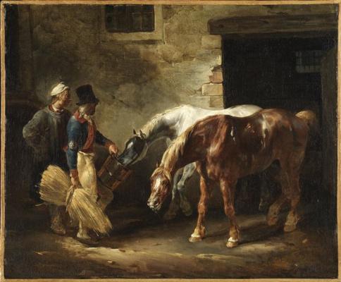 Théodore Géricault. Two postal horses