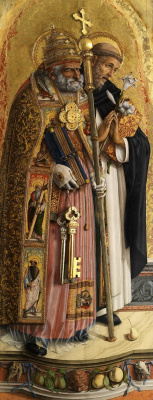 Carlo Crivelli. Saint Peter and Saint Dominic. Altar Triptych Camerino, left wing