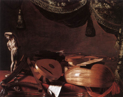 Evaristo Baskenis. Still life with musical instruments and sculpture