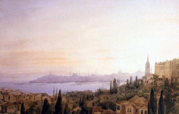 Joseph Frisero. View of Constantinople from the valley of Büyük Dere on the background of Golden Horn