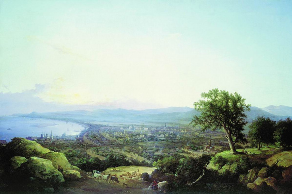 Nikanor Grigorievich Chernetsov. View of the city of Saratov at sunset. 1860