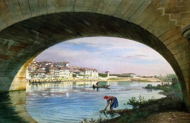 Luigi Premazzi. A view of Turin with a bridge