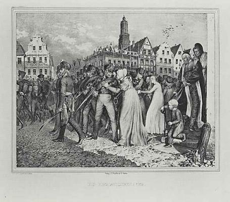 """Adolf Friedrich Erdmann von Menzel. A series of """"Memorable events of the Brandenburg-Prussian history"""", page 11: Volunteer! 1836"""