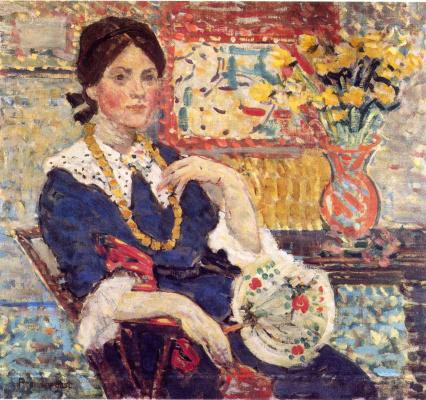 Maurice Braziel Prendergast. Red - Portrait of miss Edith king