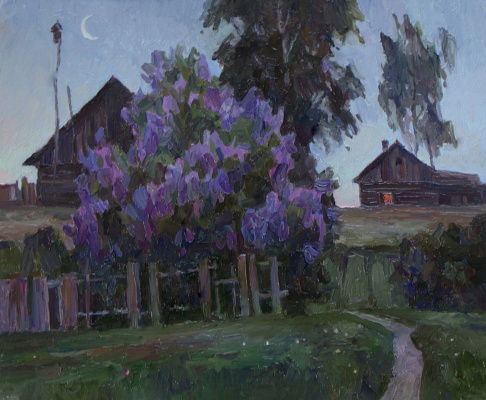 Oleg Borisovich Zakharov. Cold night in Octah. Sketch.