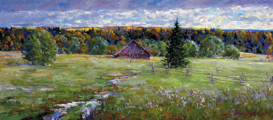 Alexander Victorovich Shevelyov. On the outskirts of. oil on canvas 27 # 61,5 cm 2008