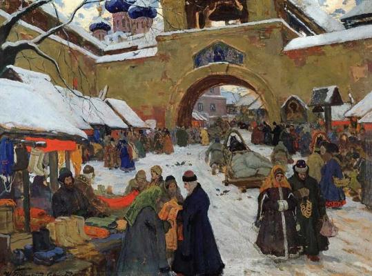 Иван Горюшкин-Сорокопудов. Базарный день в старом городе. 1910  темпера.