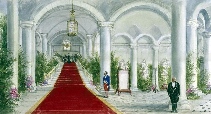 Павел Яковлевич Пясецкий. Императорская чета на парадной лестнице замка Компьен