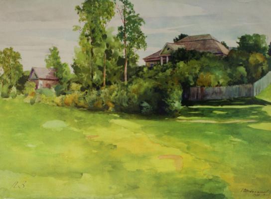 Николай Иванович Шестопалов. «Вид на усадьбу от реки» 1952
