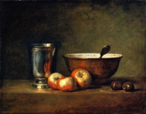 Жан Батист Симеон Шарден. Серебряный кубок (Натюрморт с тремя яблоками, чашей и серебряным кубком)