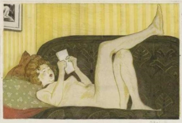 Theophile-Alexander Steinlen. Model reading