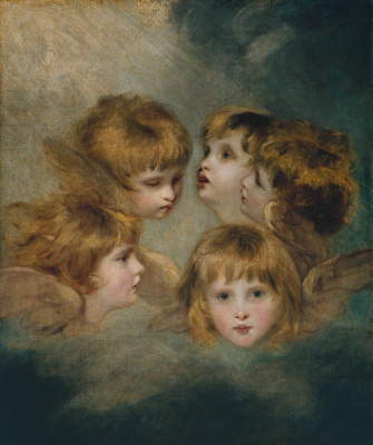 Joshua Reynolds. Angel head Portrait of a child in different angles