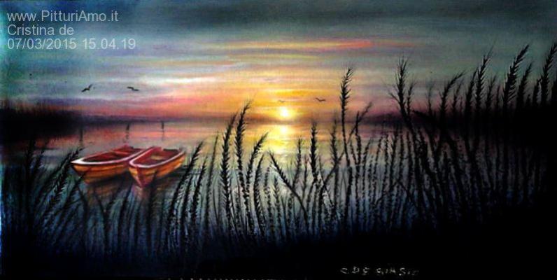 Cristina de biasio. Boats at sunset