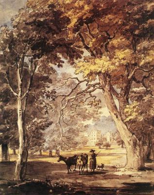 Пол Сандби. Коровы и девушка в Большом Виндзорском парке