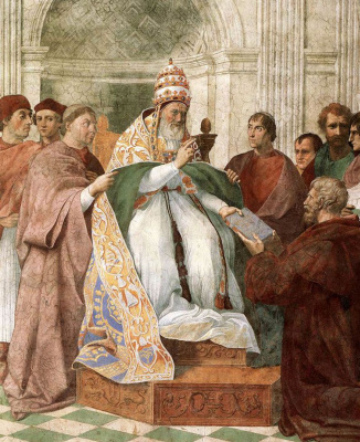 """Raphael Sanzio. Pope Gregory the Ninth approves the decrees. The fresco of """"Virtue and law"""". The stanza della senyatura. Fragment"""