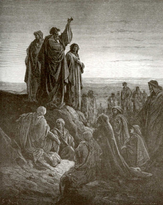 Paul Gustave Dore. Illustration to the Bible: Apostle Peter preaches the Gospel