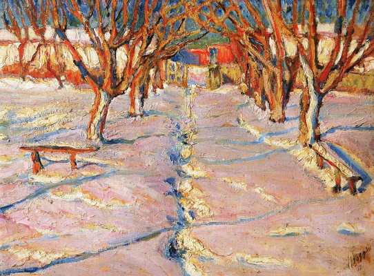 Николай Григорьевич Бурачек. Winter. Alley in the garden