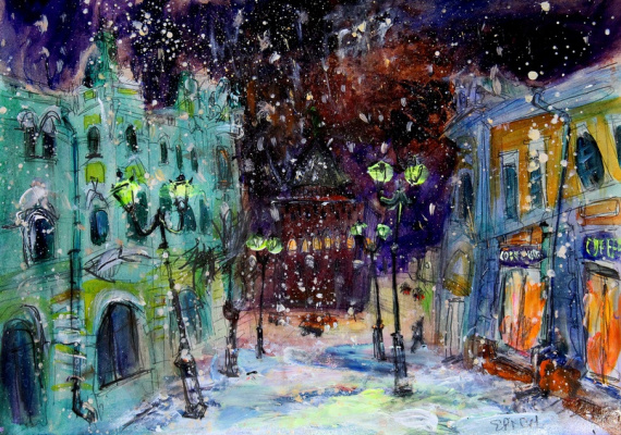 Ilya Pavlovich Spichenkov. Snowy night on the cover