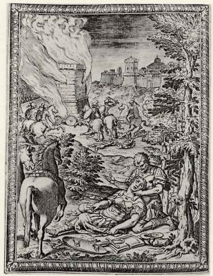 """Бернардо Кастелло. Иллюстрация к поэме Торквато Тассо """"Освобожденный Иерусалим"""", Клоринда умирает на руках у Танкреда"""