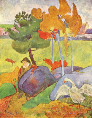 Paul Gauguin. Breton boy with a goose in a landscape