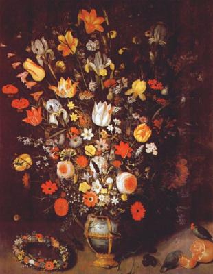 Биноит. Цветы в золоченой вазе с гирляндами и попугаями