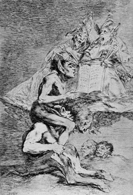 "Francisco Goya. A series of ""Caprichos"", page 70: the Godly calling"