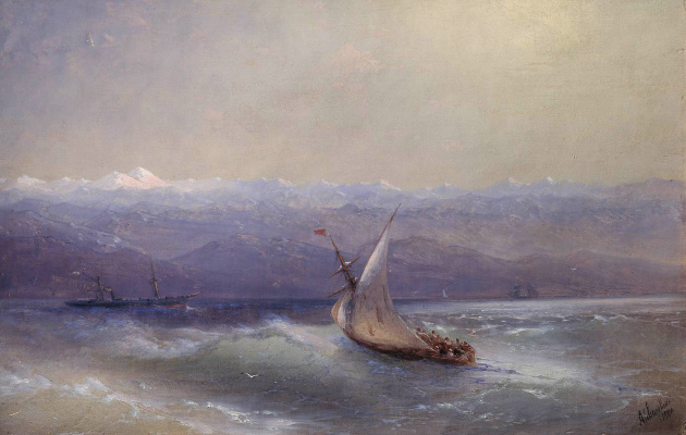 Ivan Aivazovsky. Sea with mountains in the background