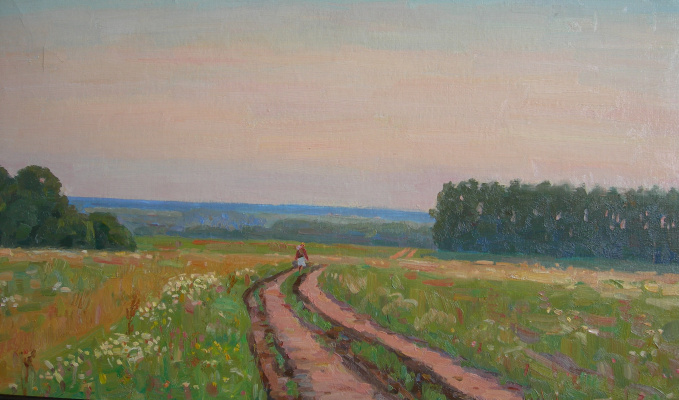 Eugene Alexandrovich Kazantsev. Golden evening. Road.
