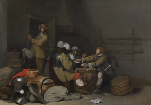 Gerard Terborch (ter Borch). Guard interior with soldiers smoking and playing cards