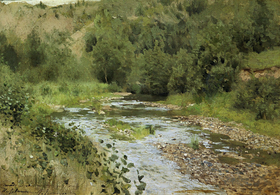 "Isaac Levitan. River. A sketch for the painting ""Autumn. Mill. Ples"""