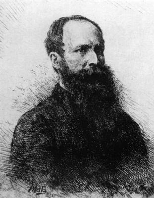 Василий Васильевич Матэ. Портрет В.В.Верещагина. Офорт 1882