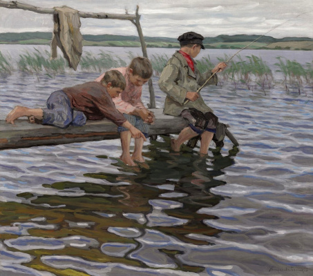 Nikolay Petrovich Bogdanov-Belsky. Kids fishing from the jetty