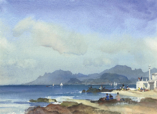 William Russell Flint 1880 - 1969 Scotland. Outside of Palm Beach, Cannes.