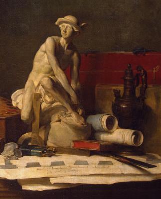 Jean Baptiste Simeon Chardin. Still life with attributes of the arts. Fragment