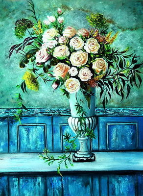 Irina Shulzhenko. Bouquet of roses in an old vase