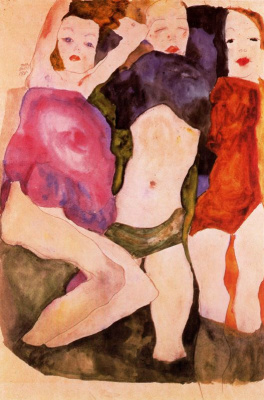 Egon Schiele. Three girls