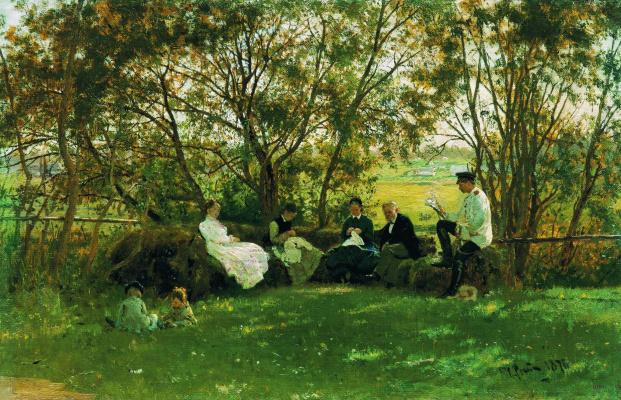 Ilya Efimovich Repin. On the turf bench. Krasnoye Selo