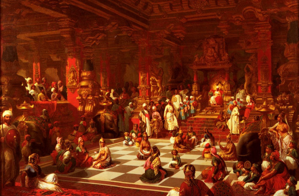 Henri Pierre Pique. Chess game in India