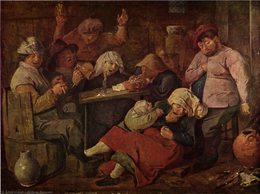Adrian Brower. Tavern with drunken peasants