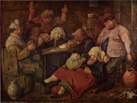 Адриан Брауэр. Таверна с пьяными крестьянами